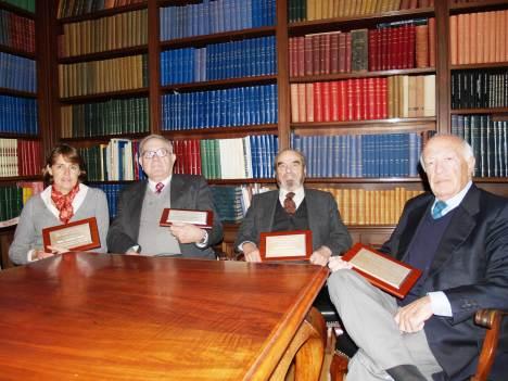 (D'esq. a dreta) Corominas, Marsal, Zea i Gallart, socis honorifics d'ADIN.